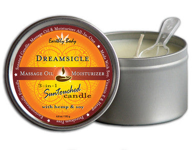 3-in-1 Dreamsicle Suntouched Candle With Hemp - 6.8 oz. Earthly Body Lubricants, Creams & Glides Scented