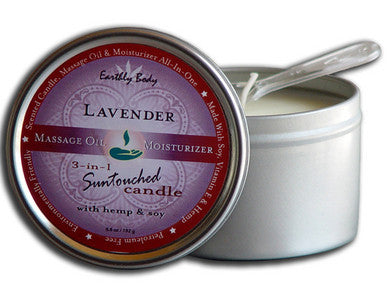 3-in-1 Lavender Suntouched Candle With Hemp - 6.8 oz. Earthly Body Lubricants, Creams & Glides Massage Oils