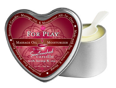 3-In-1 For Play Suntouched Candle With Hemp Earthly Body Candles Massage Oils and Creams