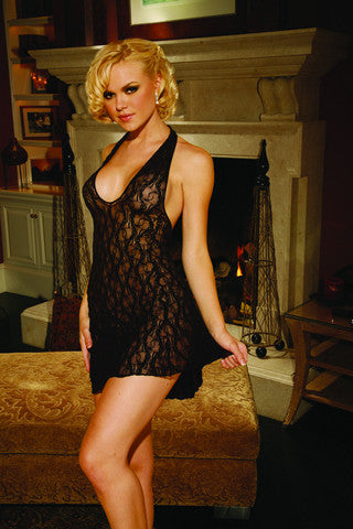 Black Stretch Lace Halter Nightie- Plus Size Elegant Moments Lingerie & Sexy Apparel Plus Size