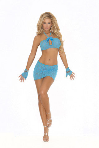 3-Piece Lace Cami Top Set - Turquoise - One Size Elegant Moments Lingerie & Sexy Apparel Cami's