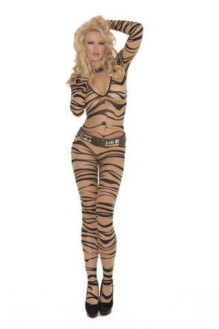 Zebra Print Bodystocking - Nude-Black - One Size Elegant Moments Lingerie & Sexy Apparel