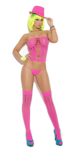 3 Piece Pothole Bandeau Top Set - Neon Pink - One Size Elegant Moments Lingerie & Sexy Apparel Dancer Wear Collection