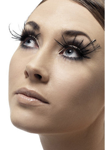 Feather Plume Eyelashes - Black Fever Lingerie Eyelashes