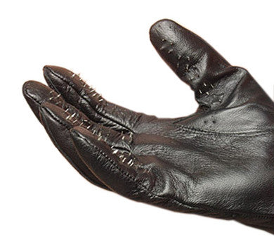 Leather Vampire Gloves With Prickly Metal Points - Medium Kinklab Body Wear Products