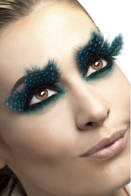 Large Aqua Dots Feather  Eyelashes Fever Lingerie Eyelashes