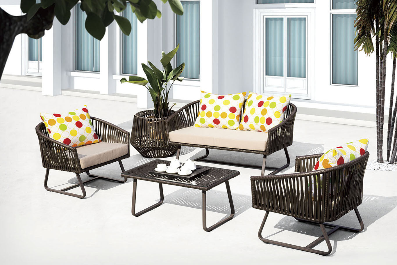 Outdoor Living Room Set Finest Poly Rattan Outdoor Living Room 4 Pc Set Furnicity