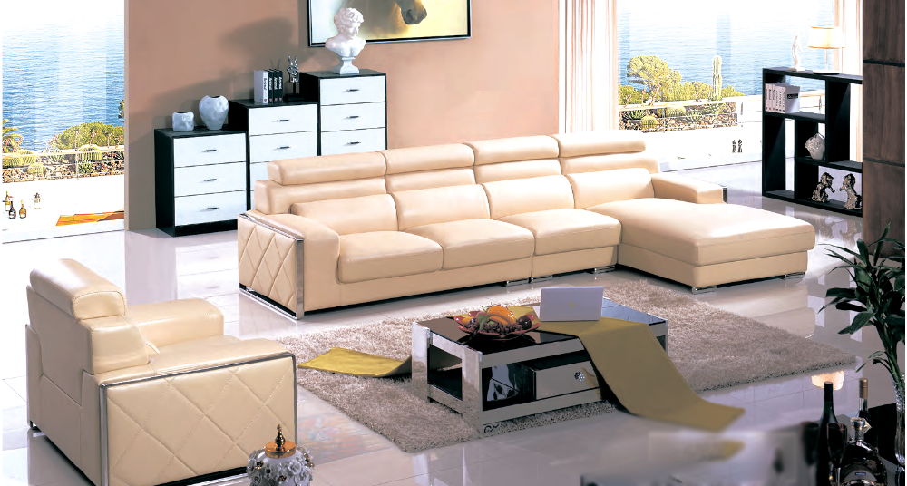 Leather elegant sofa and chair