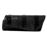 leather clutch, cylindrical clutch, ostrich leather clutch, lamb leather clutch
