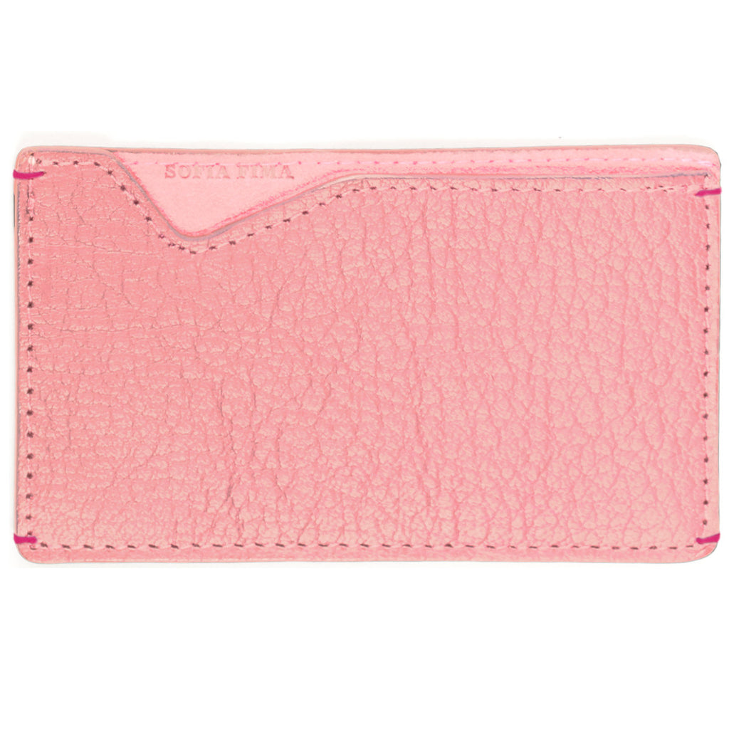 pink card case, luxury card case, french leather card case