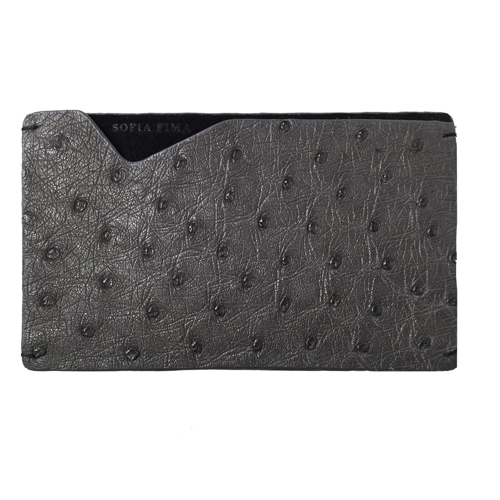 ostrich leather card case, luxury card case, grey leather card case
