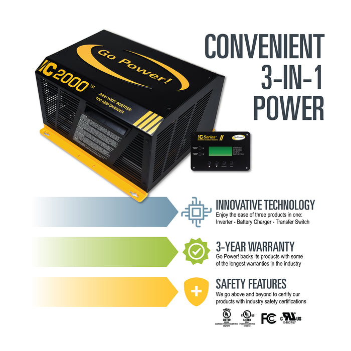 2000 watt IC Series Inverter/Charger Complete Kit