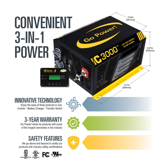 3000 watt IC Series Inverter/Charger Complete Kit