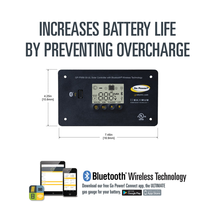 30-amp Digital Solar Controller with Bluetooth® Wireless Technology