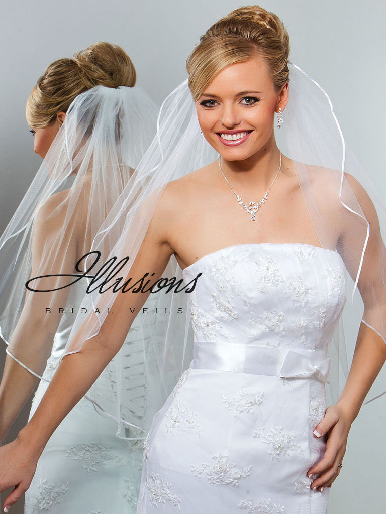 Illusion Bridal Waist Length Veil 1-301-1R
