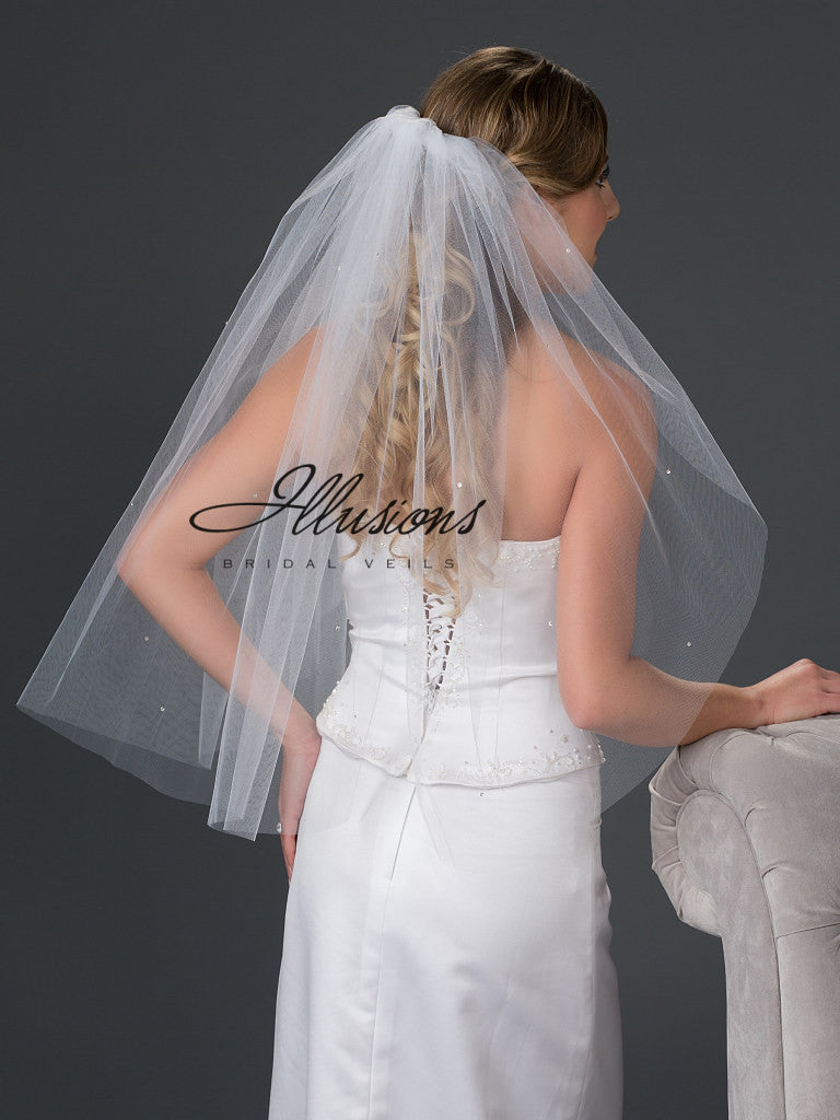 Illusion Bridal Waist Length Veil 1-301-CT-RS