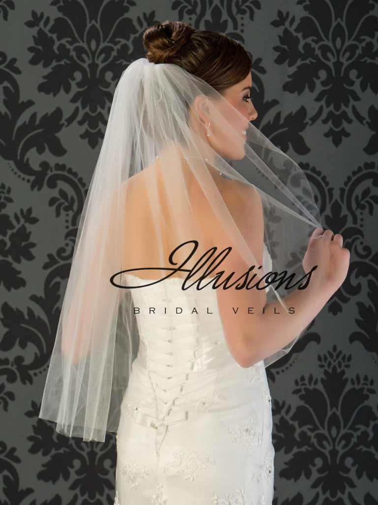 Illusion Bridal Waist Length Veil 1-301-CT