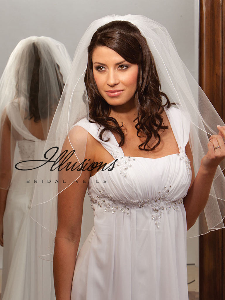 Illusion Bridal Waist Length Veil 1-301-C