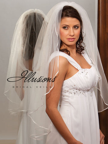 Illusion Bridal Fingertip Length Veil 1-361-1R