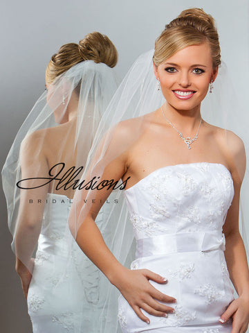 Illusion Bridal Fingertip Length Veil 1-361-CT