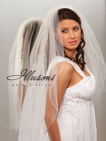 Illusion Bridal Fingertip Length Veil 1-361-C