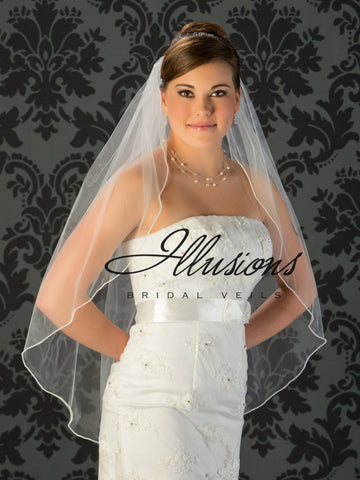 Illusion Bridal Fingertip Length Veil 1-361-P