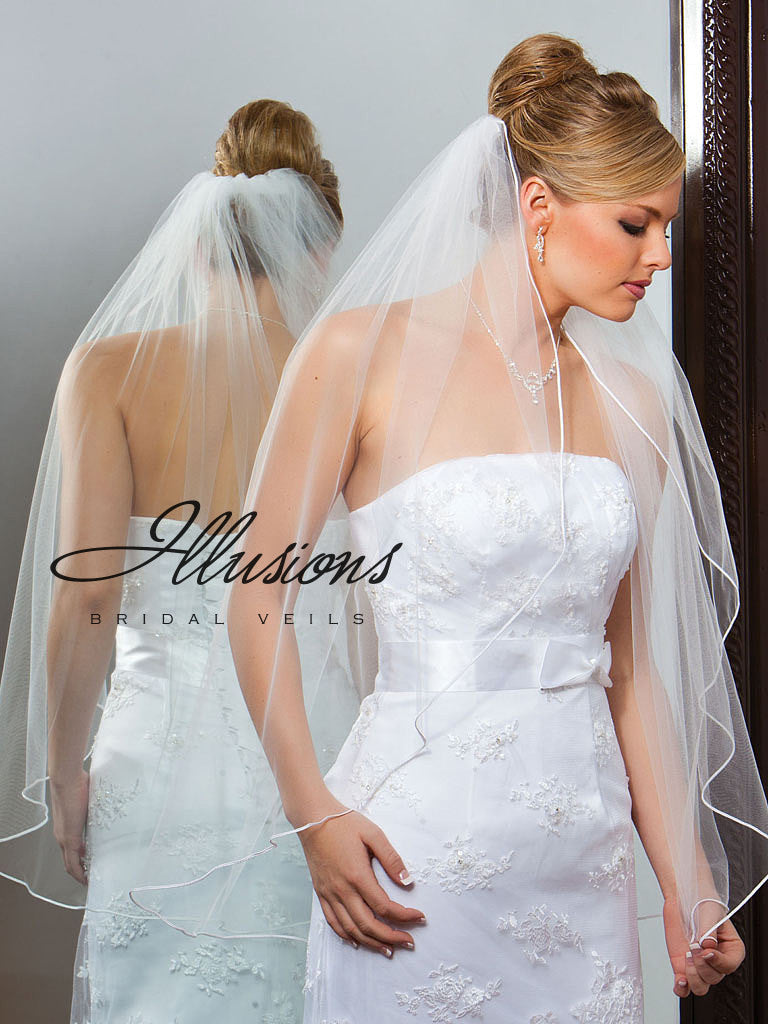 Illusion Bridal Fingertip Length Veil 1-361-ST