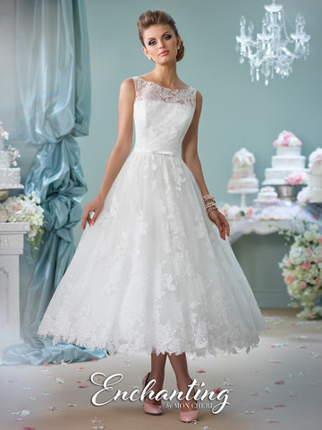 Enchanting By Mon Cheri Tea Length Wedding Dress 116136