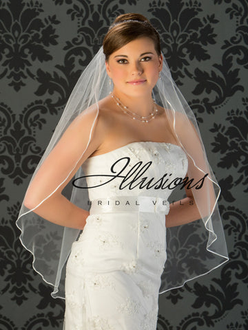 Illusion Bridal Fingertip Length Veil 7-361-1R