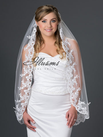 Illusion Bridal Fingertip Length Veil 7-361-4L