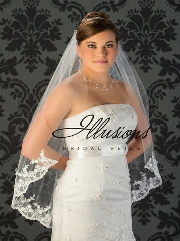 Illusion Bridal Fingertip Length Veil 7-361-B4L