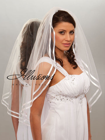 Illusion Bridal Fingertip Length Veil 7-361-D3R