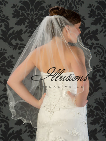 Illusion Bridal Fingertip Length Veil 7-361-F