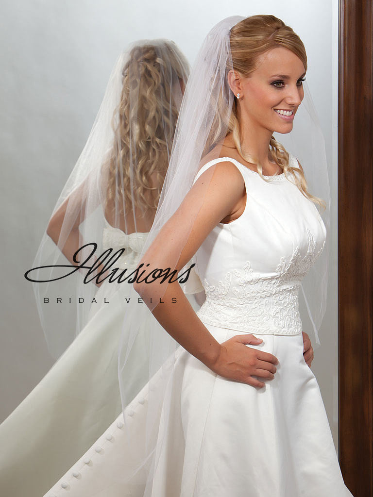 Illusion Bridal Knee Length Veil  7-451-CT