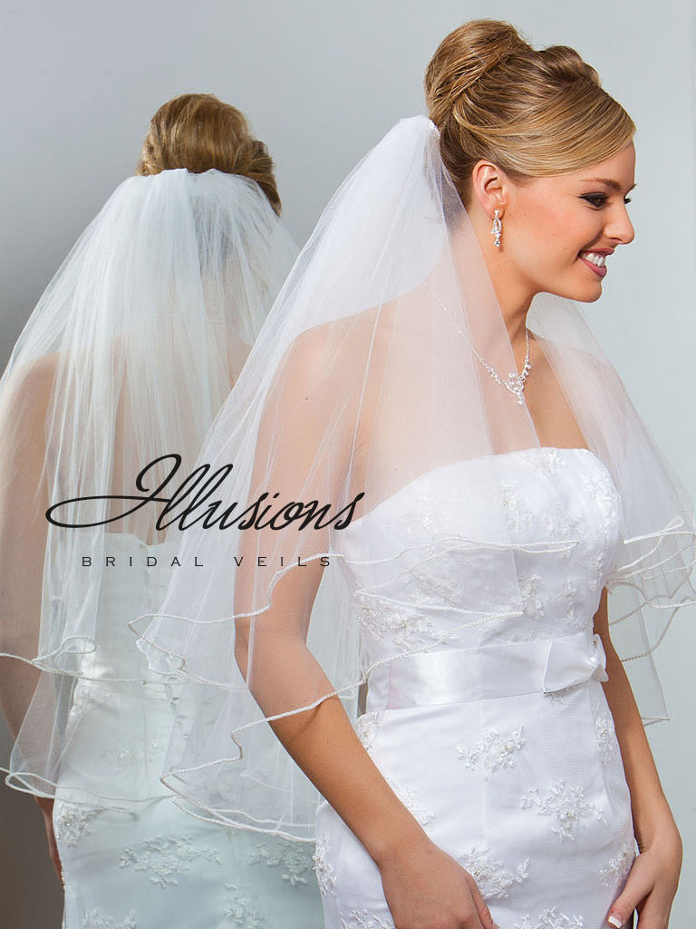 Illusion Bridal Waist Length Veil C1-302-P