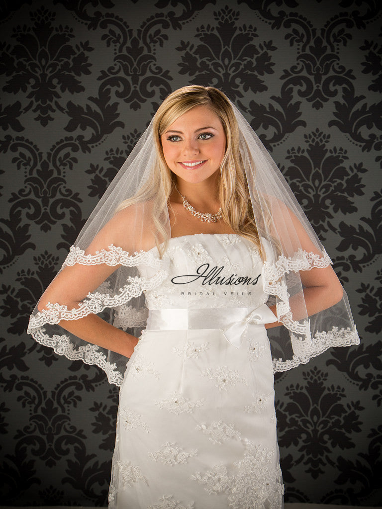 Illusion Bridal Waist Length Veil C7-302-8L