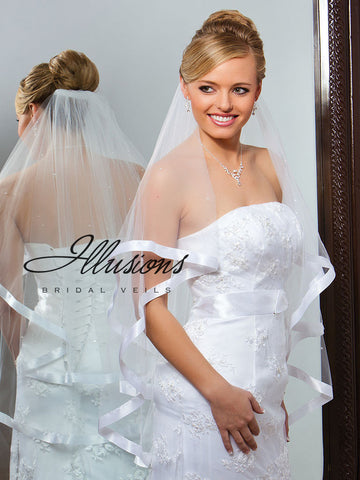 Illusion Bridal Fingertip Length Veil C7-362-7R-P