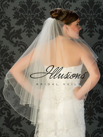 Illusion Bridal Fingertip Length Veil C7-362-C