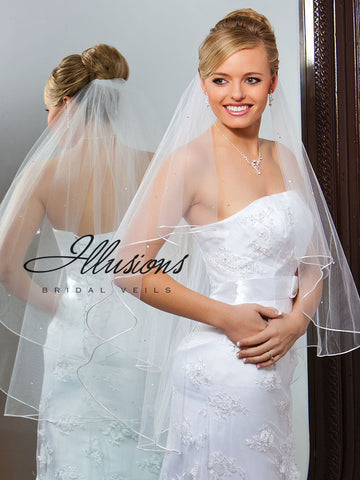 Illusion Bridal Fingertip Length Veil C7-362-RT-RS