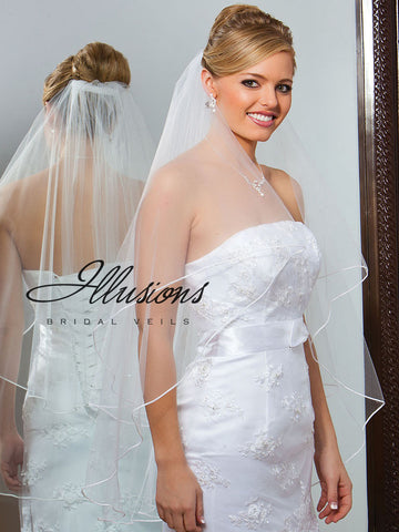Illusion Bridal Fingertip Length Veil C7-362-ST