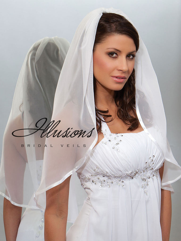 Illusion Bridal Waist Length Veil CH-301-3R