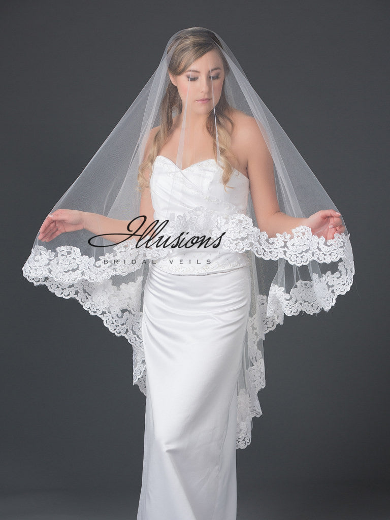 Illusion Bridal Knee Length Veil D7-452-9L