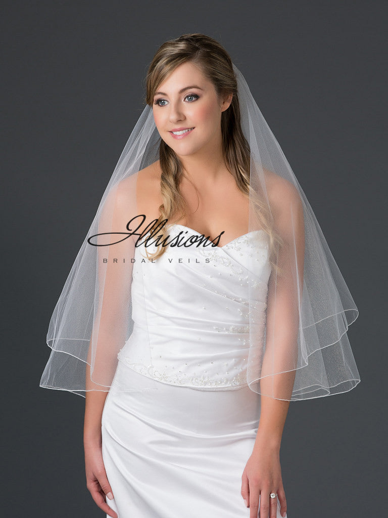 Illusion Bridal Waist Length Veil F7-302-C