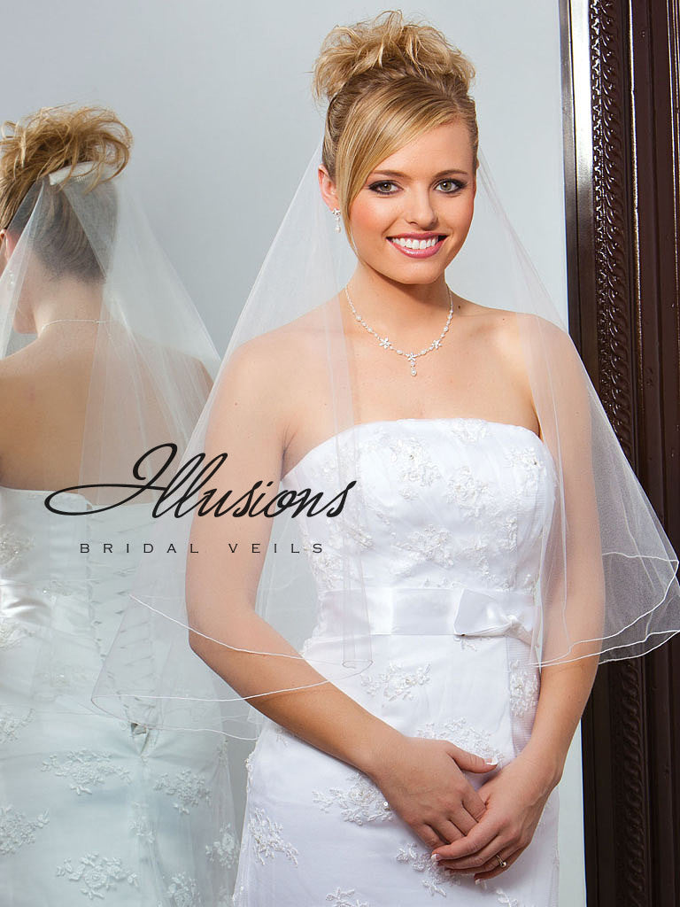 Illusion Bridal Waist Length Veil FC7-302-C