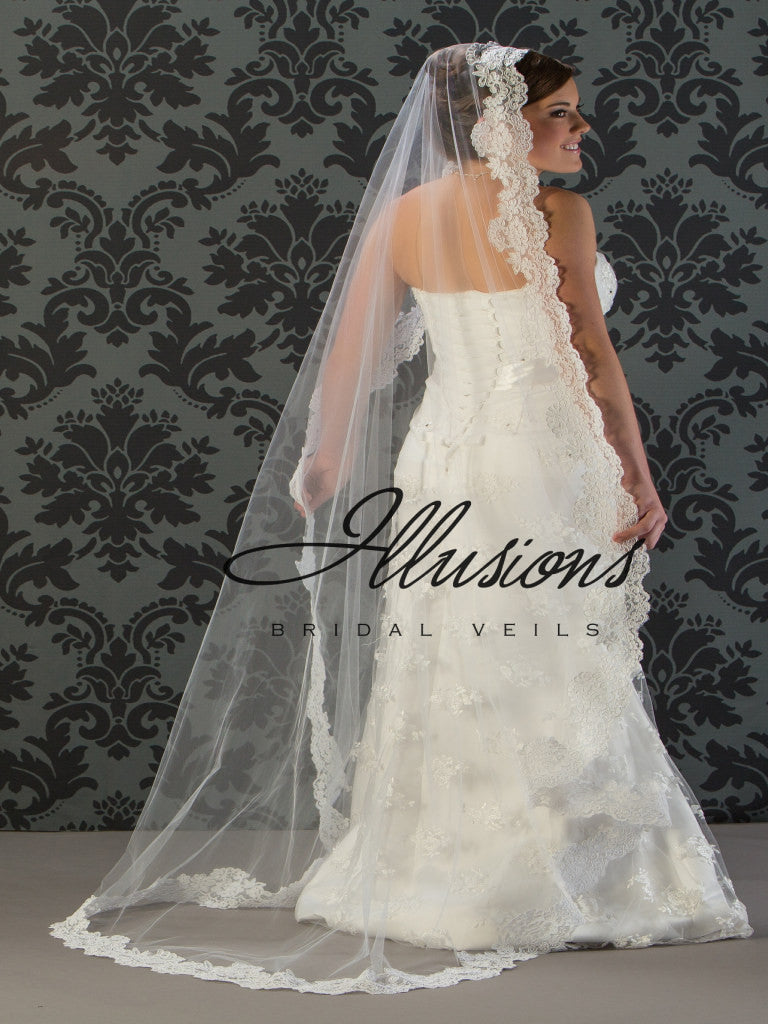 Illusion Bridal Floor Length Veil M7-721-1L