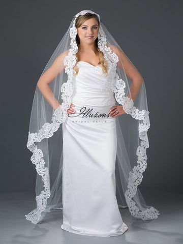 Illusion Bridal Chapel Length Veil M7-721-9L