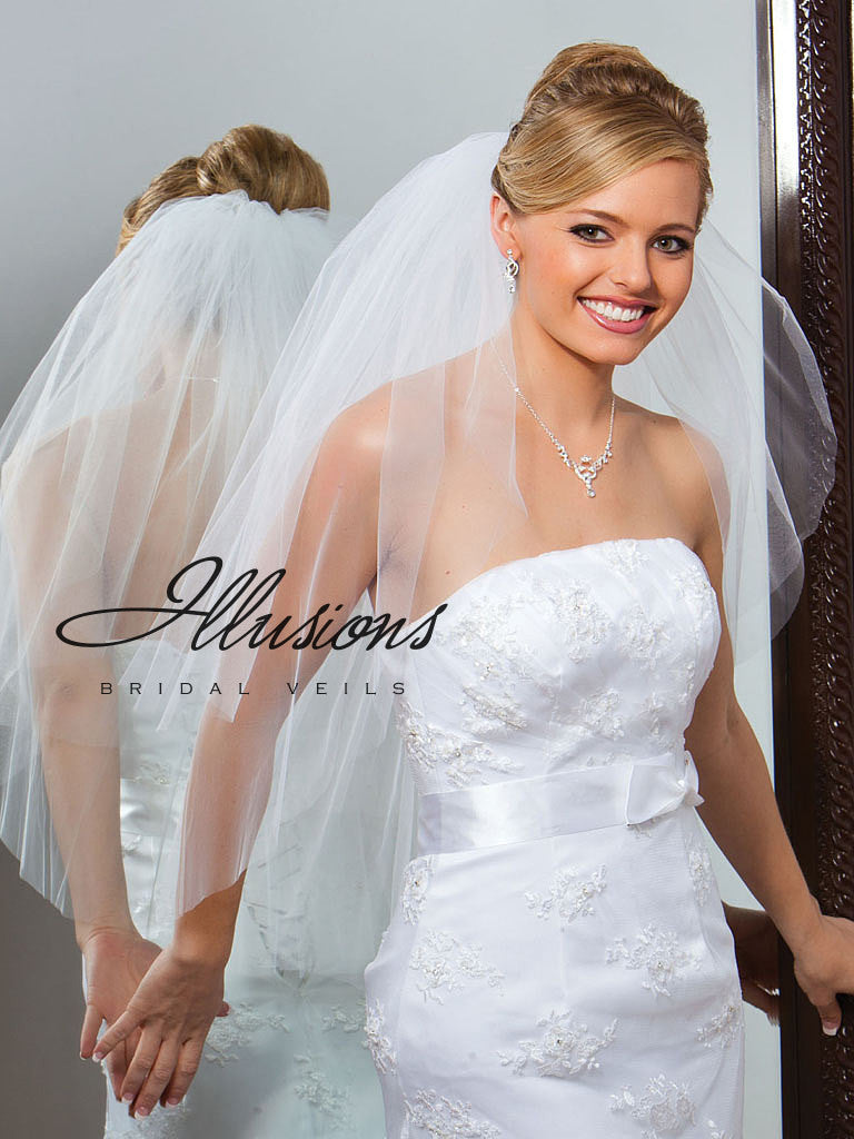 Illusion Bridal Waist Length Veil S1-302-CT