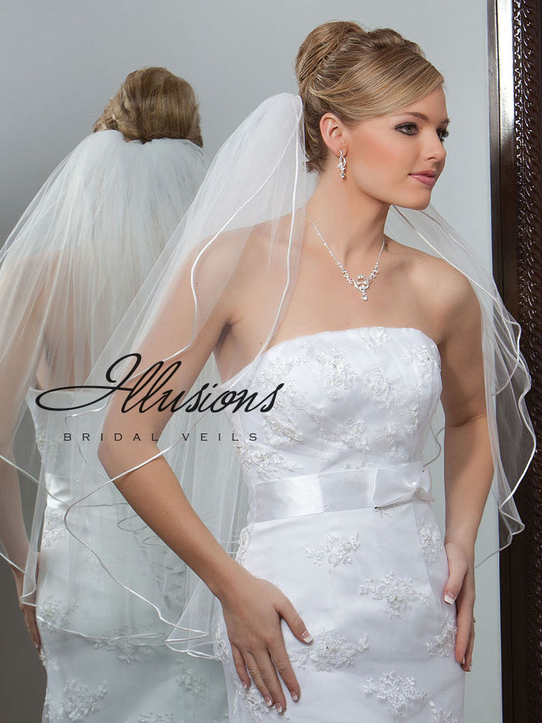 Illusion Bridal Waist Length Veil S1-302-RT
