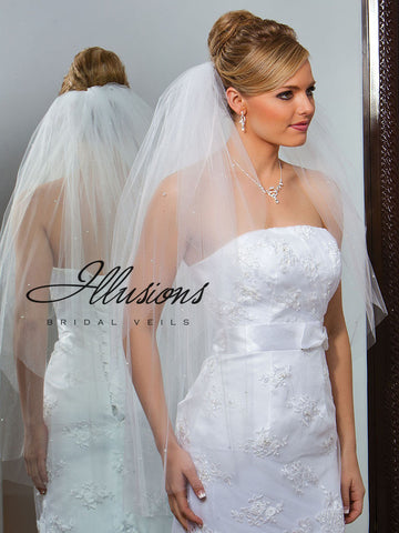 Illusion Bridal Fingertip Length Veil S1-362-CT-P
