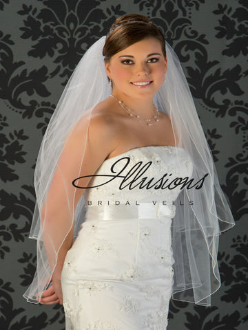 Illusion Bridal Fingertip Length Veil S1-362-C